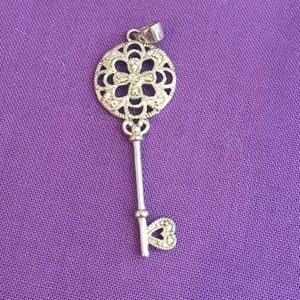 Jewelry - Sterling silver and diamond key necklace charm